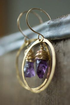 Amethyst and Gold Circle Earrings by RootsAndWingsJewelry on Etsy, $40.00