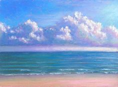 Daily Painting: Miniature Seascape, Beach and Sea, painting by artist Nancy Poucher