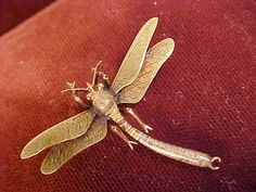 1900 Victorian Art Nouveau14k Gold Dragonfly Pin