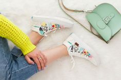 Forget the Hoop! Embroider White Canvas Sneakers for Spring   Brit + Co
