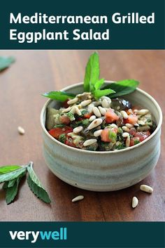 This marinated eggplant salad is a tasty dish that owes its flavor to toasted pine nuts, roasted vegetables, and fresh lemon juice and herbs. Healthy Eating Recipes, Healthy Soup, Vegetarian Recipes, Healthy Snacks, Eggplant Salad, Grilled Eggplant, Easy Mediterranean Diet Recipes, Mediterranean Dishes, Grilled Vegetables