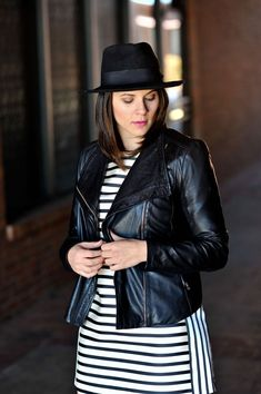 black fedora, jacket and striped dress via @mystylevita