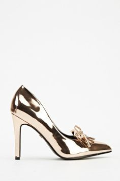 Fringed Metallic Court Heels