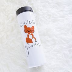 "Zero Fox Given 16oz Stainless Steel Travel Tumbler Mug - Funny Coffee Mug - Fox and Clover Original. Design: ""Zero Fox Given"" on one side. Size: 8.875"" H x 2.75"" W; Holds 16oz Description: Stainless Steel with plastic inner wall; Double wall; Foam Insulated; Push-On Twistable Lid. Printed in the USA. Care: Hand-wash recommended. Do not microwave. Perfect gift for... Mom, Sister, Fox Lovers, Best Friend, Dad, Brother, Birthdays and Christmas! Fox and Clover Original Design © 2017: This…"