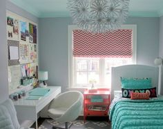 Fresh Bright Window With Curtain Pink Fur Rugs  Small Teenage Girl Bedroom White Single Sofa Blue Loose Curtains