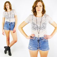 vtg 90s grunge revival boho SHEER LACE CUTOUT stretch BODYCON CROP shirt top S/M $18.00