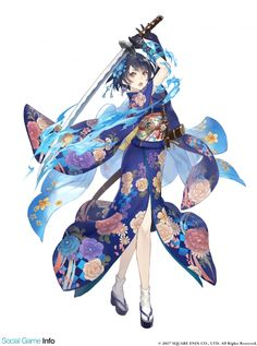 View an image titled 'Alice, Kimono Job Art' in our SINoALICE art gallery featuring official character designs, concept art, and promo pictures. Manga Girl, Chica Anime Manga, Female Character Design, Character Design Inspiration, Character Art, Anime Kimono, Fantasy Girl, Kawaii Anime Girl, Anime Art Girl