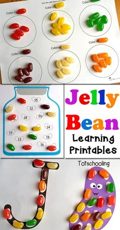 Jelly Bean Learning Printables for Kids FREE printable learning activities to be used with Jelly Beans. Perfect for the Easter season, or any time of the year! Letter J Activities, Preschool Letters, Free Preschool, Preschool Crafts, Preschool Printables, Preschool Ideas, Alphabet Games, Abc Crafts, Preschool Music