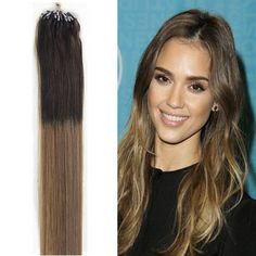 """7A 100S T6/20 2-Tone Ombre Micro Ring Loop Remy Human Hair Extensions 16""""-26"""""""