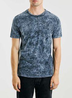 Navy Acid Wash Crew T-Shirt
