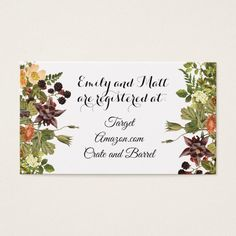 Woodland Floral Registry Card Custom office supplies #business #logo #branding