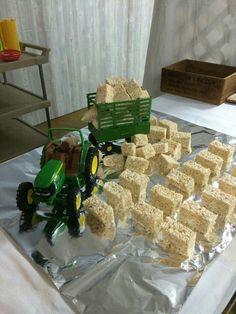 """Loading """"hay bales"""" aka rice Krispy treats... great for farm theme party"""