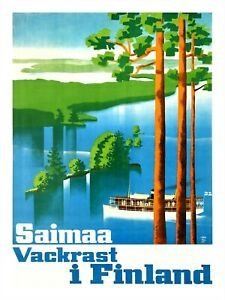 Saimaa Loveliest in Finland - Vintage Travel Poster. Full size reprint of a vintage Finnish travel poster. Vintage Illustration, Finland Travel, Retro Poster, Wall Decor Stickers, Vintage Travel Posters, Vintage Walls, Destinations, Poster Prints, 1