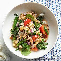 A refreshing honey-balsamic vinaigrette is the star of this veggie-packed pasta toss.