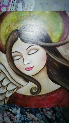 Art Painting, Angel Pictures, Pictures To Draw, Whimsical Art, Stone Art Painting, Canvas Art, Folk Art Painting, Angel Art, Angel Painting