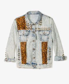 Jaqueta Jeans Leopardo e Spikes
