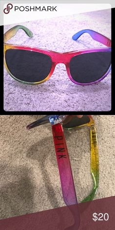 PINK Rainbow Sunglasses PINK sunglasses. Rainbow. 🌈 the shape is similar to the traditional ray bans. Always happy to bundle for better prices. No trades/holds. Happy Poshing. ❤️ PINK Victoria's Secret Accessories Sunglasses