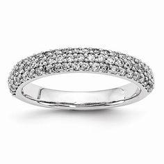 14k White Gold Diamond Anniversary Band Ring
