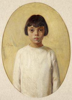 Nikolaos Lytras (Greek, 1883-1927) Girl in white dress 68 x 50 cm.