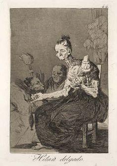 """Hilan delgalo (It is fine spun), Plate 44 of """"Los Caprichos"""" - Goya- Herbert F. Johnson Museum of Art"""