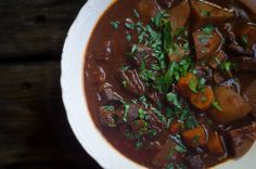 bison stew. So so good! Bison is much leaner than beef but will quickly get tough to eat if you over cook. This recipe is so yum!