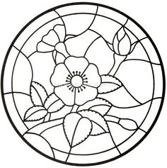 drawing great for stained glass or appliqué Glass Painting Patterns, Stained Glass Patterns Free, Stained Glass Designs, Dot Painting, Free Mosaic Patterns, Stained Glass Flowers, Faux Stained Glass, Mandalas Painting, Mandala Art