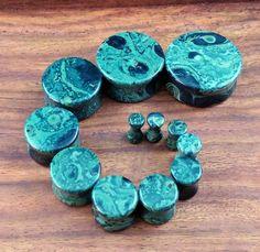 Green Eye Jasper Stone Plugs (25mm, 22mm, 19mm, 16mm, 14mm, 12mm, 10mm, 8mm, 6mm, 5mm, 4mm, 3mm) Sold in pairs.