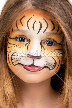 gezicht geschilderd als een tijger