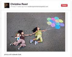 Great outdoor photo ideas with sidewalk chalk art