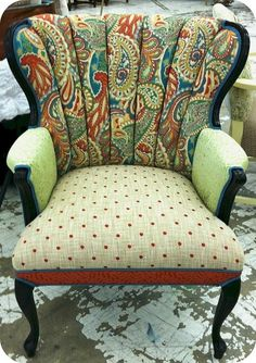 I have an antique chair just like this from my grandmother.  What a cool way to recover it!