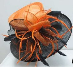 Ladies Orange & Black Wide Brim Hat,Races,Wedding,Equine,Shows,Hat Making