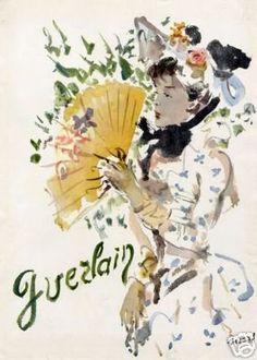 CHRISTIAN BERARD for GUERLAIN Perfume French Ad 1945