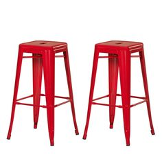 Furnistars Red 30-inch Metal Bar Stools (Set of 2). This set of two stylish iron barstools is a unique modern addition to your dining room or living room high top table. With striking colors and a glossy finish these eye-catching stools are definite conversation pieces. They have a sturdy four-legged design that provides a rustic yet modern look. This style is available in a variety of colors
