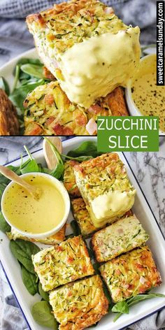 Zucchini Slice made with 6 ingredients. Freezer friendly recipe that is so easy! Side Dish Recipes, Lunch Recipes, Breakfast Recipes, Sunday Recipes, Drink Recipes, Dinner Recipes, Vegetable Slice, Vegetable Side Dishes, Gluten Free Zucchini Slice