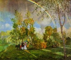 """Konstantin Somov (1869-1939) was a Russian Symbolist painter and illustrator associated with the World of Art movement (""""Mir iskusstva"""" in Russian).  On June 14, 2007, Somov's painting Landscape with Rainbow (1927) was sold at Christie's auction house for US $7.33 million, a record for a work at an auction of Russian art (and seven times its high estimate)."""