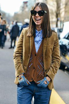 Natasha Goldenberg, Knitwear, Corduroy, Layering, Camel, Jeans, FW15 Women's, Women, Milan, Sunglasses, Prada, Vests, Gloves