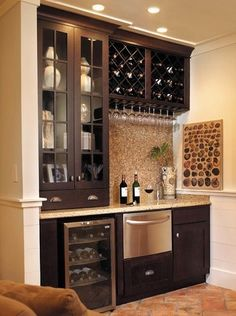 Check Out 35 Best Home Bar Design Ideas. Home bar designs offer great pleasure and a stylish way to entertain at home. Home bar designs add values to homes and beautify the game room and basement living spaces. Home, Basement Remodeling, Kitchen Remodel, Bars For Home, Kitchen, House Interior, Home Kitchens, Home Wine Bar, Home Interior Design