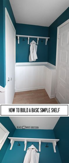 How to Build a Basic Simple Shelf for our Entryway | www.blackandwhiteobsession.com #DIY #tutorial #shelves