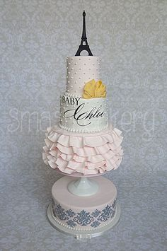 """Chloe in Paris - This design was requested by my client, and is an almost exact replica of the GORGEOUS """"Baby Paris"""" cake created by the insanely talented girls at the CAKE Goodness cake company."""