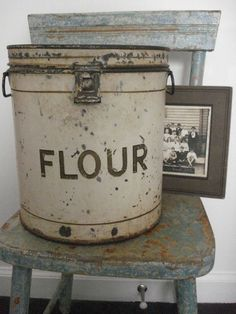 distressed chair, vintage flour metal canister