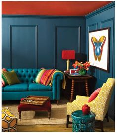 Combining Two Hues To Make A Colour Statement Is Pick From Opposite Sides Of The Color Wheel This Living Room Fine Example Teal Blue Walls