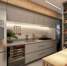 Image may contain: kitchen and indoor Modern Kitchen Interiors, Luxury Kitchen Design, Kitchen Room Design, Modern Kitchen Cabinets, Kitchen Cabinet Design, Home Decor Kitchen, Interior Design Kitchen, Kitchen Furniture, Cuisines Design