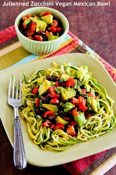 Julienned Zucchini Vegan Mexican Bowl with Black Beans, Avocado, Tomato, Poblano, and Lime; delicious and only needs minutes stove time! [from Kalyn's Kitchen] Vegan & GlutenFree Zucchini Side Dishes, Zucchini Noodle Recipes, Veggie Recipes, Mexican Food Recipes, Low Carb Recipes, Vegetarian Recipes, Cooking Recipes, Healthy Recipes, Zucchini Noodles