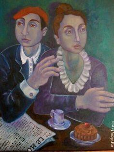 Couple avec Journal et Cafe'..