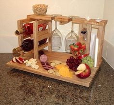 Wine and cheese party for 2 includes wine rack, glass holders, cheese cutting board made from upcycled solid pecan flooring, Ready to ship Wood Projects, Woodworking Projects, Wood Crafts, Diy And Crafts, Cheese Cutting Board, Cheese Boards, Wine Caddy, Wine And Cheese Party, Wine Cheese