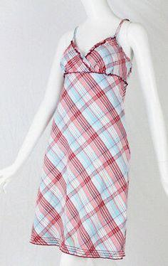 762d4ba8311 Tommy Hilfiger Womens Sun Dress Size Medium Plaid Spaghetti Strap Red Blue  Lined