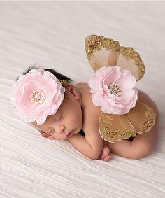 Look at this #zulilyfind! Brown & Pink Rosette Headband & Butterfly Wings #zulilyfinds