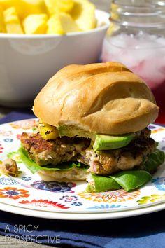 Hawaiian Ahi Tuna Burgers with Grilled Pineapple   ASpicyPerspective.com #summer #hawaii #burgers #recipe