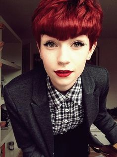 Red pixie cut, AMAZING bangs, red lipstick, liquid eyeliner, awesome menswear-inspired outfit - SHE'S EVERYWHERE YOU WANNA BE!