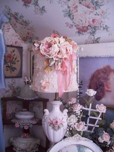 lace lampshade boudoir lampshade shabby chic by TheHumbleCottage, $115.00 on etsy